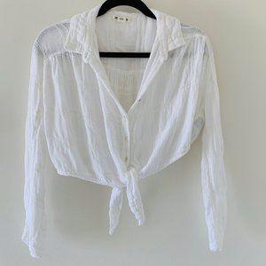Billabong white crop tie long sleeve tee